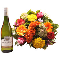 Colorful bouquet with groot geluk white